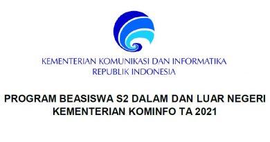 Informasi Beasiswa S2 Dalam dan Luar Negeri Kemenkominfo TA 2021